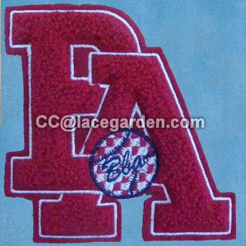 Two Alphabet Chenille\Chain Embroidery Patches