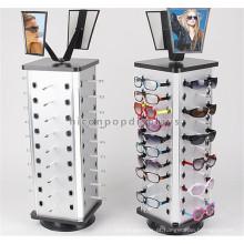 Eyewear Store Desktop Sunglass Display Rotating Stand, Metal Lock Óculos de sol Stand Rotação