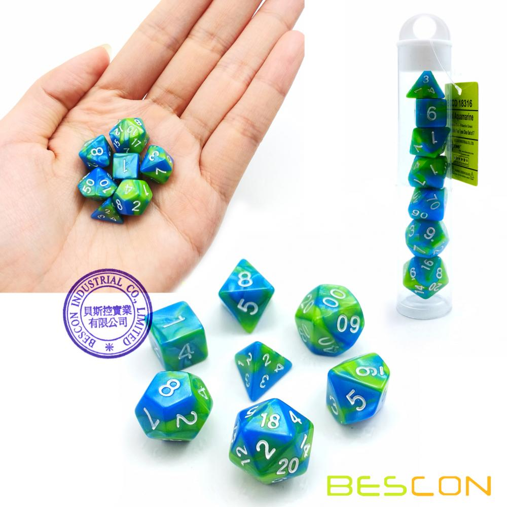 Bescon Mini Gemini Two Tone Polyhedral RPG Dice Set 10MM, Small Mini RPG Role Playing Game Dice Set D4-D20 in Tube, Aquamarine