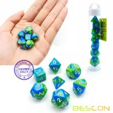 Bescon Mini Gemini Two Tone Polyeder RPG Würfel Set 10 MM, Kleine Mini RPG Rollenspiel Dice Set D4-D20 in Tube, Aquamarin
