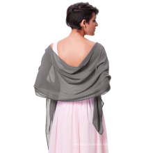 "Kate Kasin Stock 72*18"" Scarf Wrap Neckerchief Grey Chiffon Bridal Evening Shawls Scarves KK000229-9"