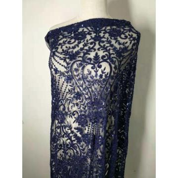 Blue embroidery lace mesh with blue sequins