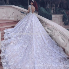 2017 Vintage Muslim Long sleeve Cathedral Train Plus Size Puffy Lace Ball Gown Wedding Dresses MW970