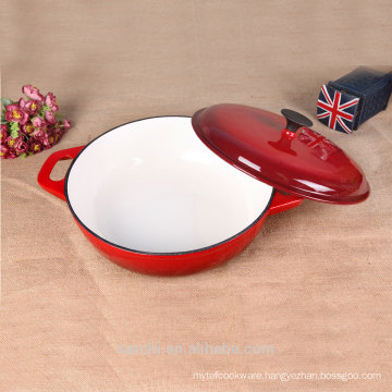 China Cast Iron shallow oval Cocotte( French Oven)Bright Red
