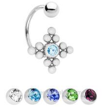 C forme 14ga 12 perles ZIRCON Stone Belly Button Ring