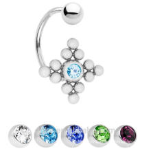 C shape 14ga 12 beads ZIRCON Stone Belly Button Ring