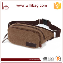 2 layers Men Waist Bag Brown Canvas Motorcycle Waist Bag