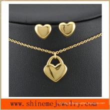 Jóias Shineme 316L de aço inoxidável colar banhado a ouro com Stud Ear (SSNL2646)