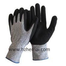 Hppe Liner Gloves Coated Sandy Nitrile Cut Resistant Wok Glove