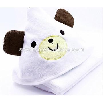 Serviette de bain 100% bambou à capuchon de luxe - Doux, moelleux, absorbant et respirant - Extra Large - Ours mignon - Blanc