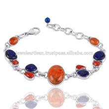 Schwamm Koralle und Koralle mit Lapis Edelstein 925 Sterling Silber Armband