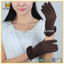 Warm Brown Winter Wool Gloves with Bowknot on the Wrist,Fashion Women Wool Gloves Fleece Lined