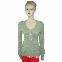 Lady's round neck L/S cardigan with front buttons, 7gg, made of 50% cotton/50% acrylic, twist yarn