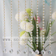 Small Gold Beads And Round Crystal Faceted Beads Curtain