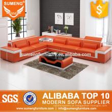 mais recente sala de estar mobiliário conjunto de sofá de canto laranja e branco com preço baixo