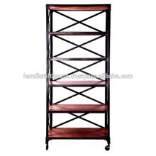 Industrial Tall Wood Shelfs 5 Etagen mit Rädern Bücherregal