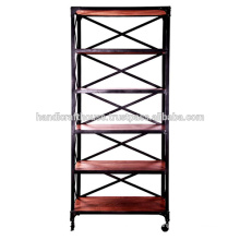 Industrial Tall Wood Shelfs 5 tier with wheels Bookcase