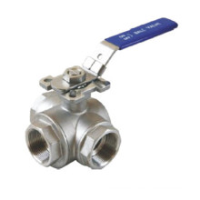 Three-Way Threaded Ball Valve with Mounting Pad
