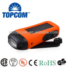 3 leds 2 modos de lanterna dinamo solar com carregador de telemóvel TP-PH007