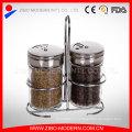 Оптовая 2PC Clear Glass Spice Jar Set с хромированной подставкой
