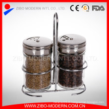 Vente en gros 2PC Clear Glass Spice Jar Set avec Chrome Stand