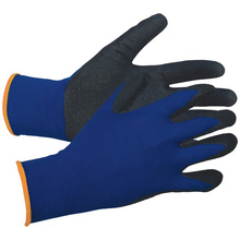 13 Gauge Blue Polyester Shell Nitrile Coated Gloves Sand Grip Glove