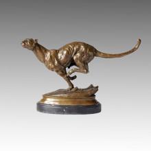 Animal Escultura de Bronce Leopardo tallado Deco Latón Estatua Tpal-078