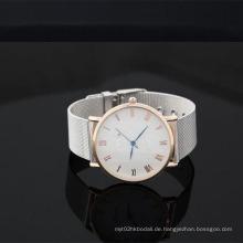 Yxl-644 2016 Großhandels-einfache Genf-Quarz-Mann-Uhr-Ineinander greifen-Uhr-Band-Frauen-Armbanduhr