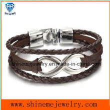 Shineme Jewelry Hot-Selling 8-Word Leather String Bracelet (BL2847)