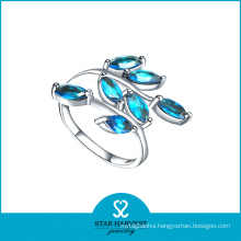 Fashion Aquamarine 925 Sterling Silver Ring Designer (R-0496)