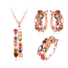 Cubic Zircon Pendant/Earrings/Ring Women Wedding Jewelry Sets (CST0030-A)