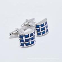 Custom Nickel plated Blue enamel Cufflinks For Mens Shirts