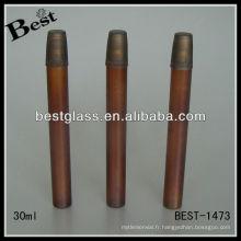 Bouteilles de parfum faites sur commande 30ml, bouteille de parfum faite sur commande ronde en verre, bouteille de parfum faite sur commande avec le jet d'or et le chapeau en plastique