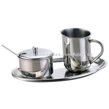 Sugar and creamer set, made of stainless steel, includes milk jug and sugar bowl with spoon