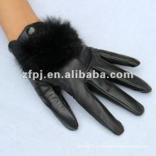 Guante negro de la piel del conejo de las mujeres de la manera
