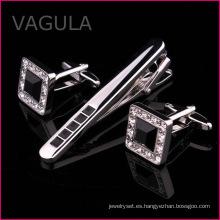 VAGULA cristal Gemelos Tie Pin mancuernas barra de lazo Set corbata de negocios (T62287)