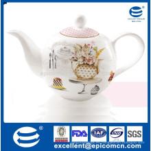 Jazmín flor de té de porcelana de diseño de flores punteada, olla de té turco