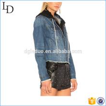 Dupla camada com hoodies e jaqueta jeans novo estilo jaqueta jeans denim jaqueta de motocicleta