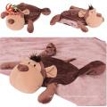 Custom Cute 2 in 1 Bear Owl Elephant Bunny Emoji Unicorn Doll Blanket Toy Soft Animal Head Plush Baby Pillow Blanket for Travel