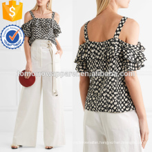 Midnight-blue Cold-shoulder Polka-dot Silk Top Manufacture Wholesale Fashion Women Apparel (TA4099B)