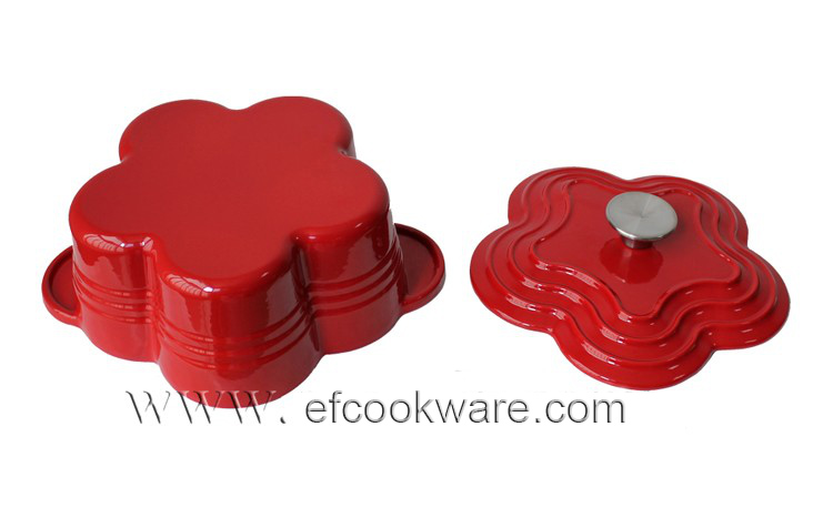 Enamel flower shape saucepan cast iron cookware