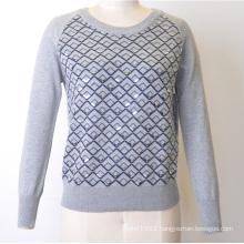100%Cotton Women Patterned Jumper Sequins Knit Sweater