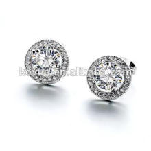Wholesale Silver Jewelry plain 925 sterling silver zircon round stud earring