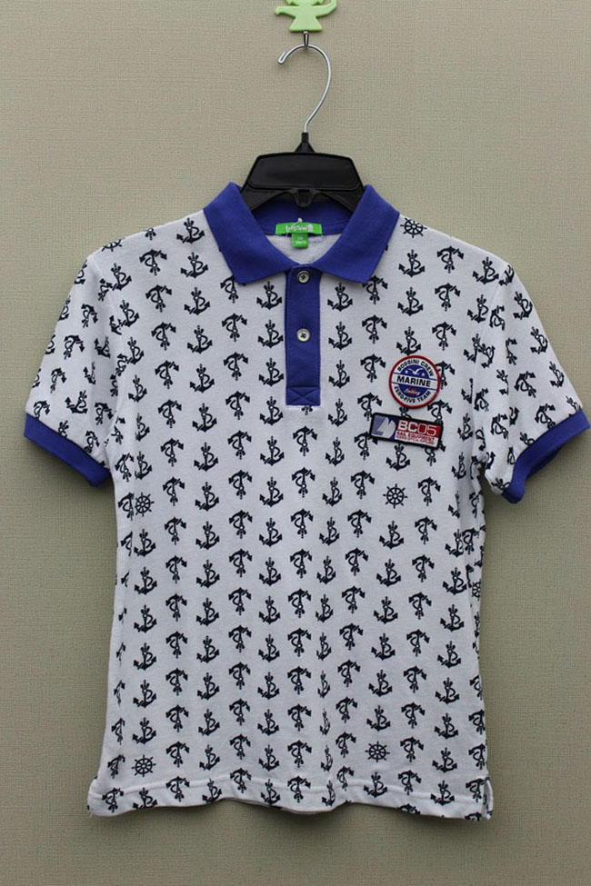 Boy's 100% Cotton Knitted All Over Print Polo with Embroider