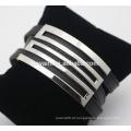 Europeus e americanos em aço inoxidável envoltório pulseira de couro