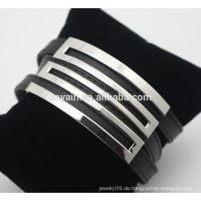 Europäische und amerikanische Edelstahl Wrap Leder Armband