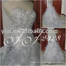 JJ2328 Ballkleid Layered Kristall Hochzeitskleid Splitter grau Brautkleid 2014