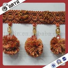 Pompom Cortina borla Franja para el sofá, corte decorativo Franja usada para los accesorios de la cortina para la decoración casera, hecho en China