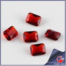 Granate Red Forma rectángulo Cúbico Zirconia Piedra preciosa sintética
