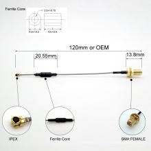 SMA feito-à-medida livre ao cabo coaxial de IPEX com núcleo